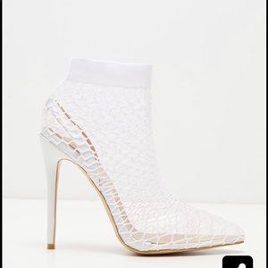 Prettylittlething fishnet pointed heels